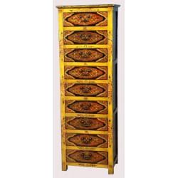 Commode tibétaine 9 tiroirs L57xP38xH165 cm