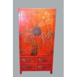 Armoire chinoise rouge 98x52x186