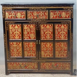 Buffet tibétain 5 tiroirs 2 portes 120x38x123